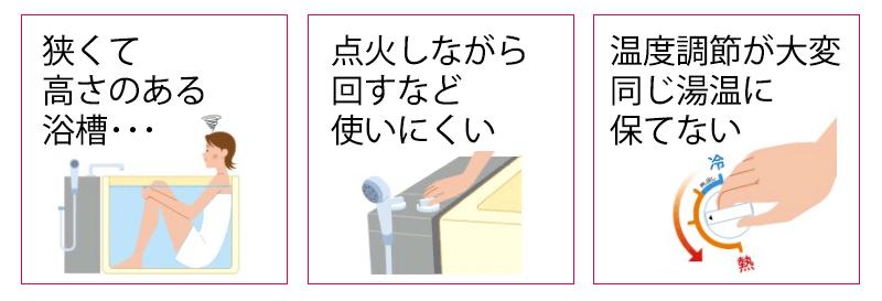 点火しにくい・浴槽が深くて狭い・温度が安定しない